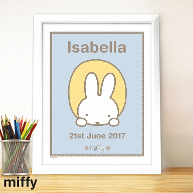 Personalised Miffy Peekaboo Large Name Frame