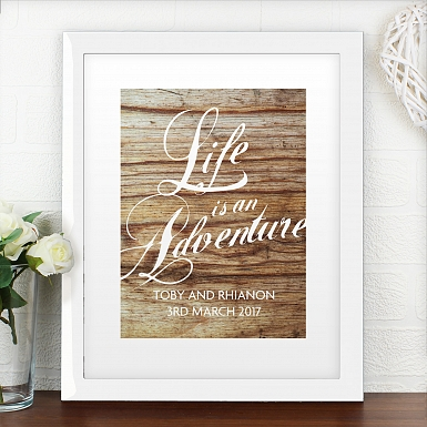 Personalised 'Life is an Adventure' Poster Frame