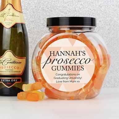 Personalised Geometric Rose Gold Prosecco Gummies Jar