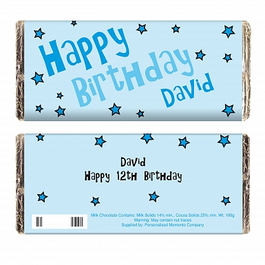 Personalised Blue Happy Birthday Stars Milk Chocolates Bar