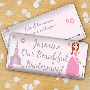 Personalised Beautiful Bridesmaid Milk Chocolates Bar
