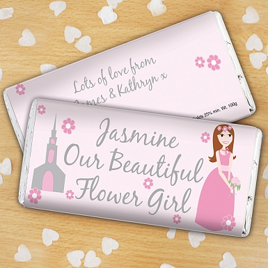 Personalised Fabulous Flower Girl Milk  Chocolates Bar