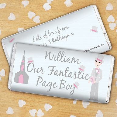Personalised Fantastic Page Boy Milk Chocolates Bar