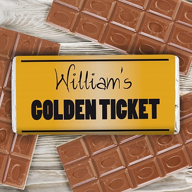 Personalised Golden Ticket Milk Chocolates Bar