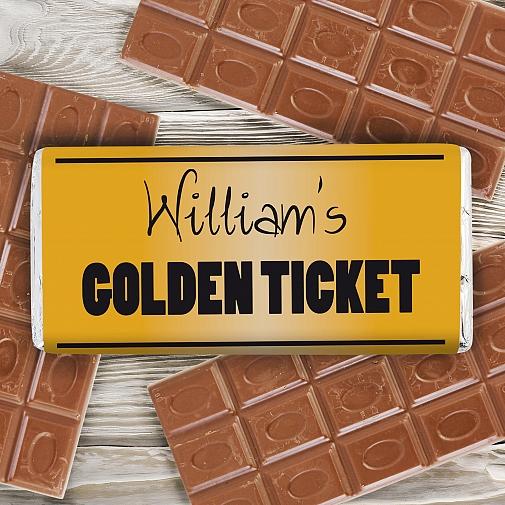 Personalised Golden Ticket Milk Chocolates Bar