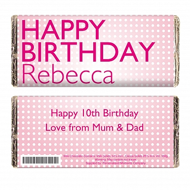 Personalised Happy Birthday Pink Dots Milk Chocolates Bar