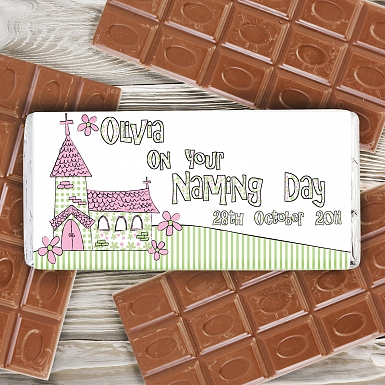 Personalised Pink Church Milk Chocolates Bar
