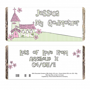 Personalised Whimsical Church Godmother Milk Chocolates Bar