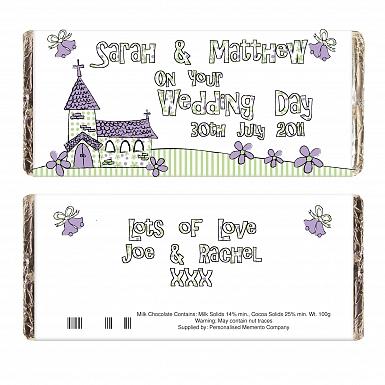 Personalised Whimsical Church Wedding Milk Chocolates Bar