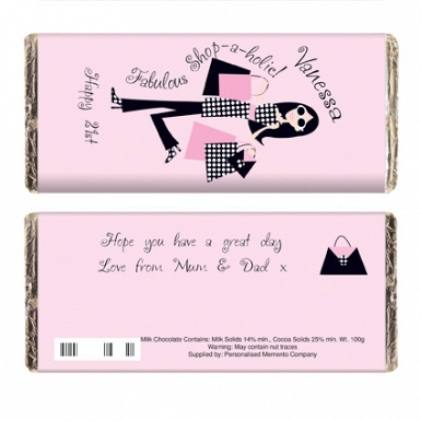 Personalised Fabulous Shopaholic Milk Chocolates Bar