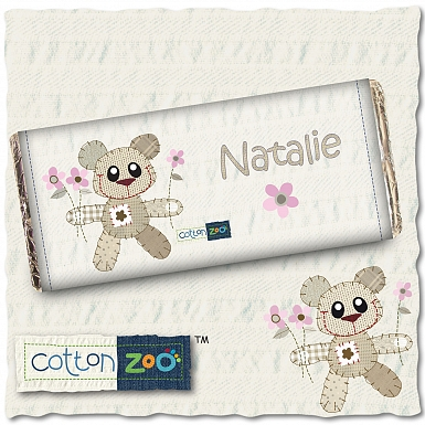 Personalised Cotton Zoo Girls Tweed the Bear Milk Chocolates Bar