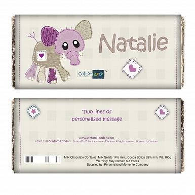Personalised Cotton Zoo Wynciette the Elephant Milk Chocolates Bar