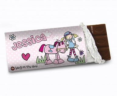 Personalised Bang on the Door Pony Girl Milk Chocolates Bar