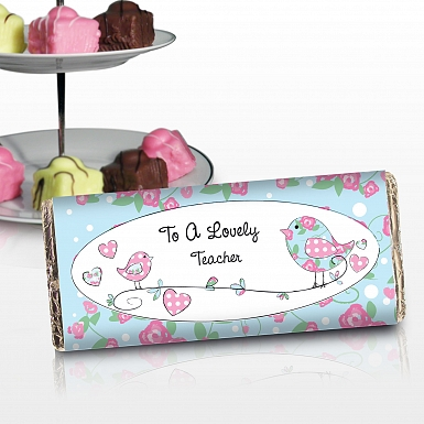 Personalised Floral Bird Milk Chocolates Bar