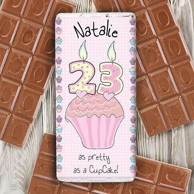 Personalised Cupcake Numbers Milk Chocolates Bar