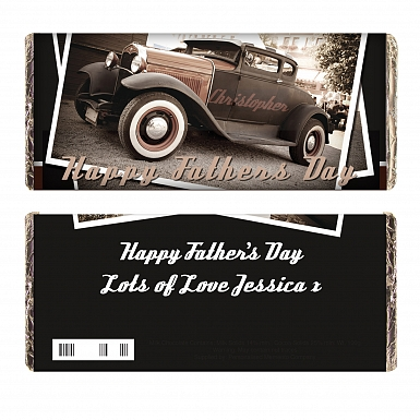 Personalised Classic Car Father's Day Milk Chocolates Bar
