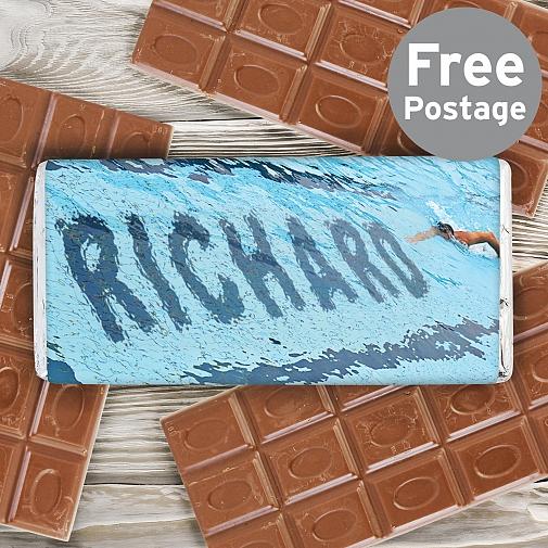 Personalised Swimmer Milk Chocolates Bar