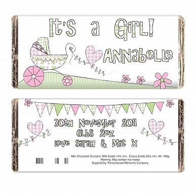 Whimsical Pram Its a Girl Chocolate Bar delivery to UK [United Kingdom]