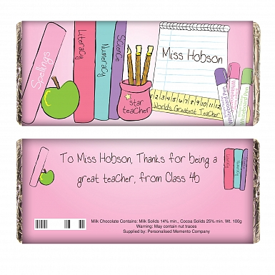 Personalised Teacher Female Milk Chocolates Bar