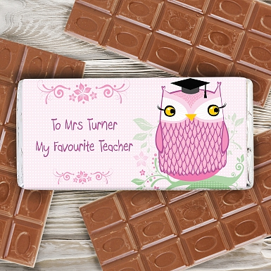 Personalised Miss Owl Milk Chocolates Bar