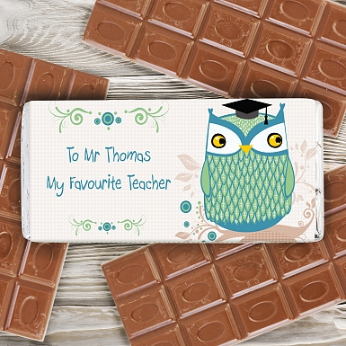 Personalised Mr Owl Milk Chocolates Bar