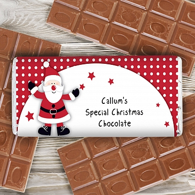 Personalised Spotty Santa Milk Chocolates Bar