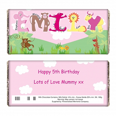 Personalised Girls Animal Alphabet Milk Chocolates Bar