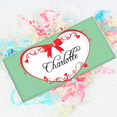Personalised Red Ribbon Milk Chocolates Bar