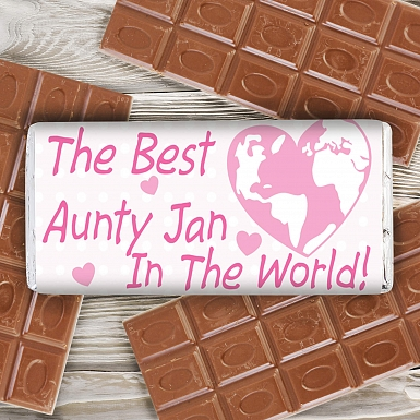 Personalised Pink Best in the World Milk Chocolates Bar
