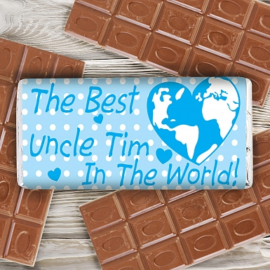 Personalised Blue Best in the World Milk Chocolates Bar
