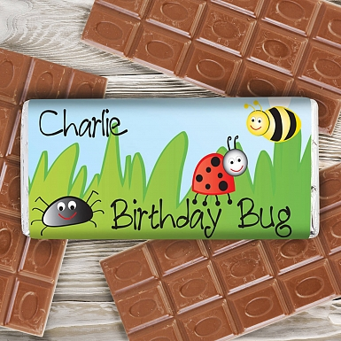 Personalised Birthday Bug Milk Chocolates Bar