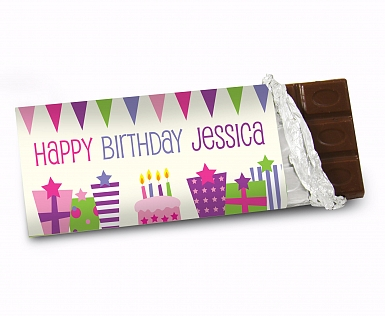 Personalised Pink Birthday Presents Milk Chocolates Bar