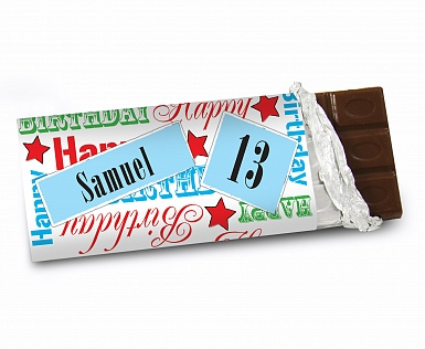 Personalised Blue Happy Birthday Milk Chocolates Bar