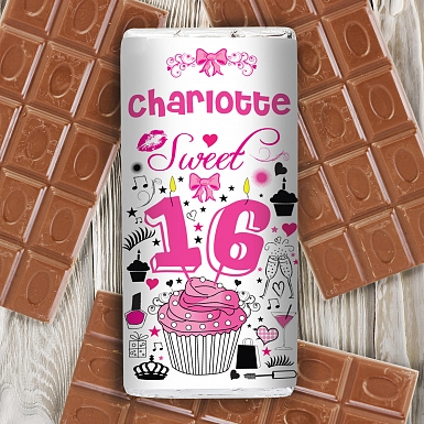 Personalised Sweet 16 Milk Chocolates Bar