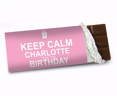 Personalised Keep Calm Birthday Milk Chocolates Bar Pink
