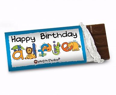 Personalised Bang On The Door Animal Alphabet Boys Milk Chocolates Bar