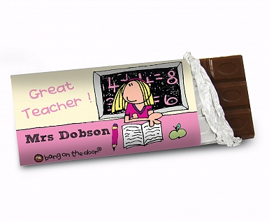Personalised Bang On The Door Female Teacher Milk Chocolates Bar