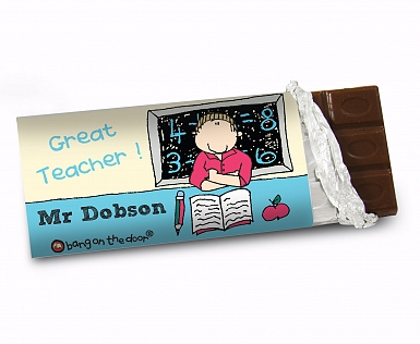 Personalised Bang On The Door Male Teacher Milk Chocolates Bar