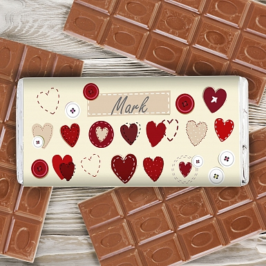 Personalised Fabric Hearts Design Milk Chocolates Bar