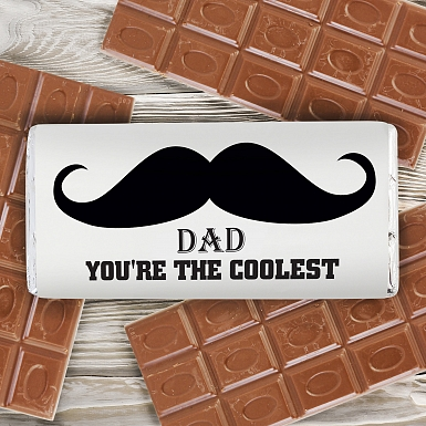 Personalised Moustache Milk Chocolates Bar