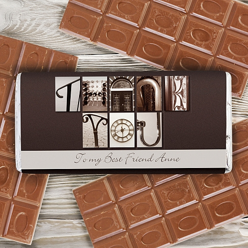 Personalised Affection Art Thank You Milk Chocolates Bar