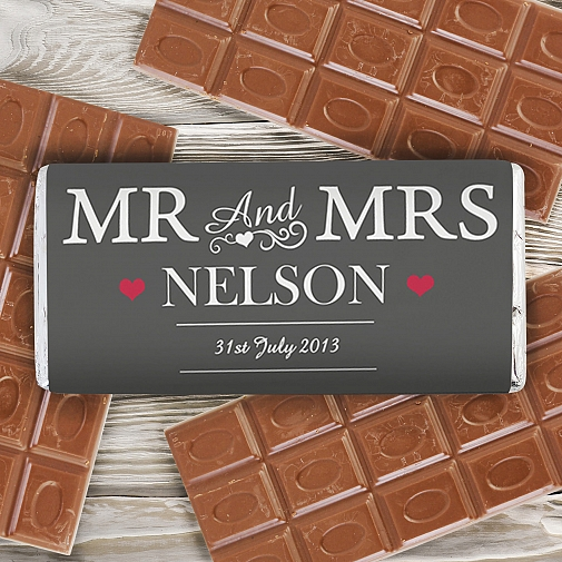Personalised Mr & Mrs Milk Chocolates Bar