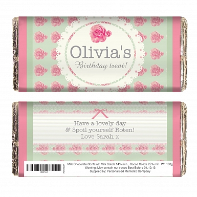 Personalised Vintage Rose Milk Chocolates Bar