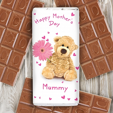 Personalised Teddy Flower Milk Chocolates Bar