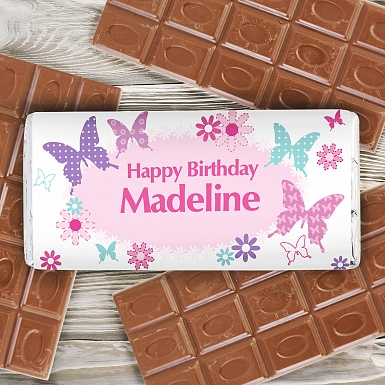 Personalised Butterfly Milk Chocolates Bar