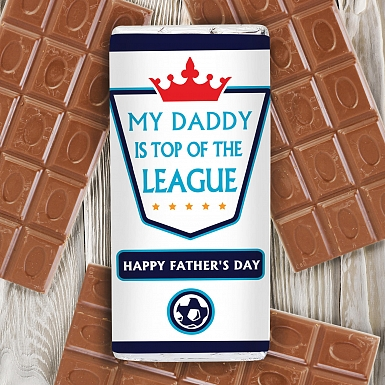 Personalised Top of the League Milk Chocolates Bar