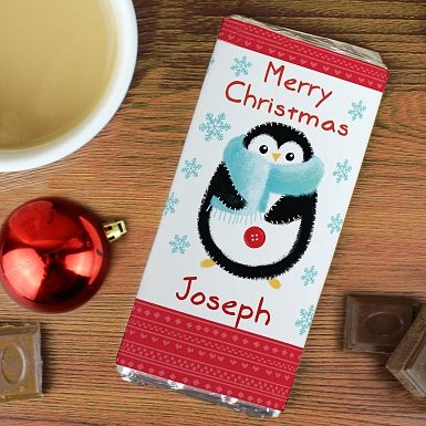 Personalised Felt Stitch Penguin Milk Chocolates Bar