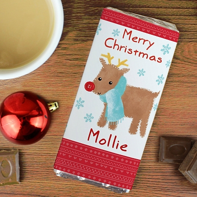 Personalised Felt Stitch Reindeer Milk Chocolates Bar
