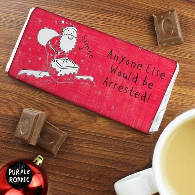 Personalised Purple Ronnie Male Christmas Milk Chocolates Bar