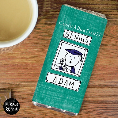 Personalised Purple Ronnie Male Graduation Milk Chocolates Bar
